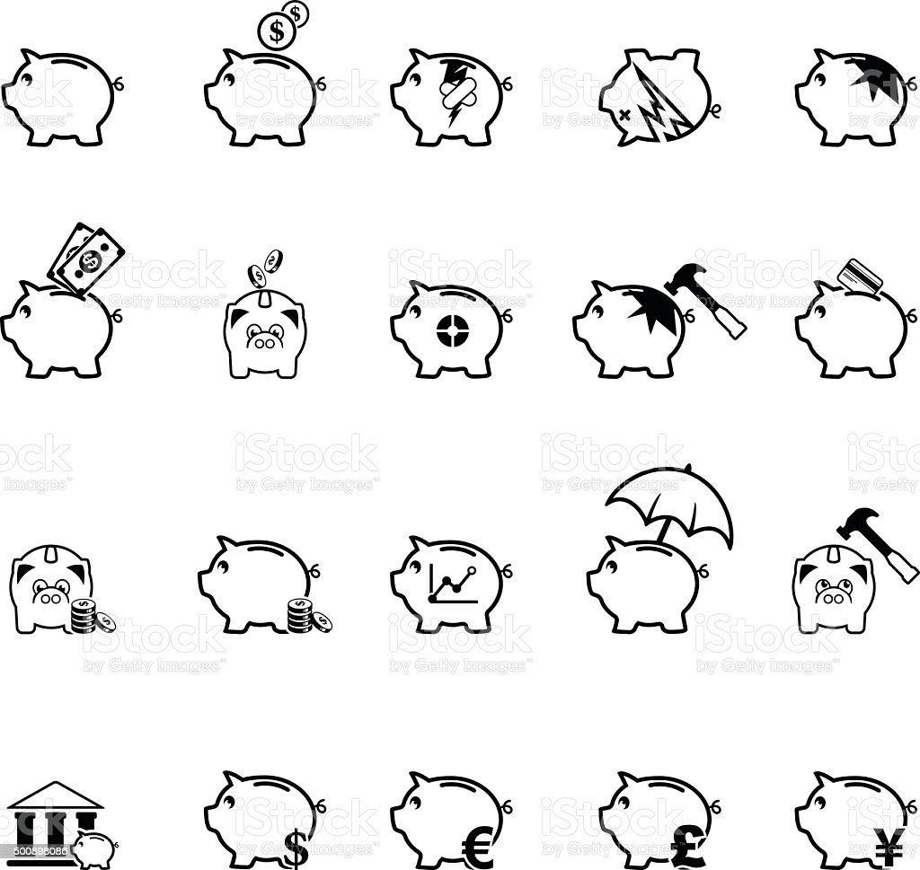 Collection of piggy bank icons vector art illustration