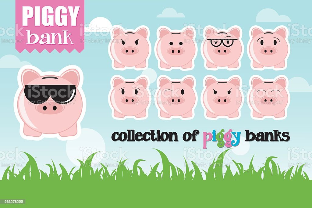 Collection of piggy banks with different face expressions and attitudes vector art illustration