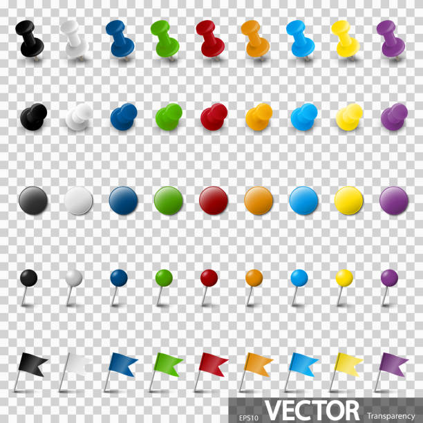 sammlung von pin-nadel-bürobedarf - heftzwecke stock-grafiken, -clipart, -cartoons und -symbole