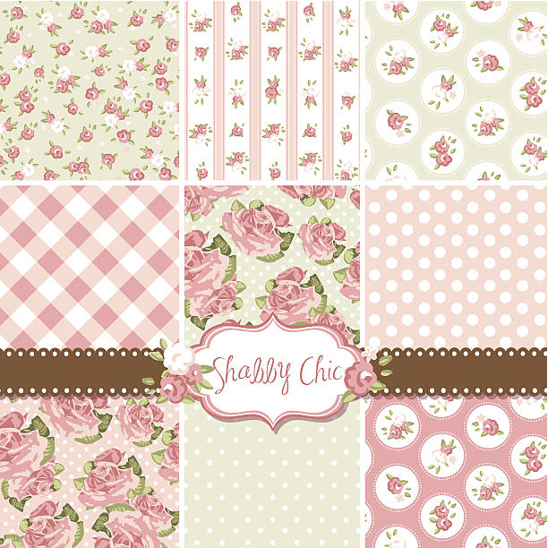 Collection of pink and cream shabby chic rose patterns Shabby Chic Rose Patterns and seamless backgrounds. Ideal for printing onto fabric and paper or scrap booking. shabby chic stock illustrations