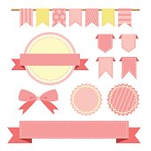 Collection of pink color ribbons and labels, shabby chic textile bunting flag.