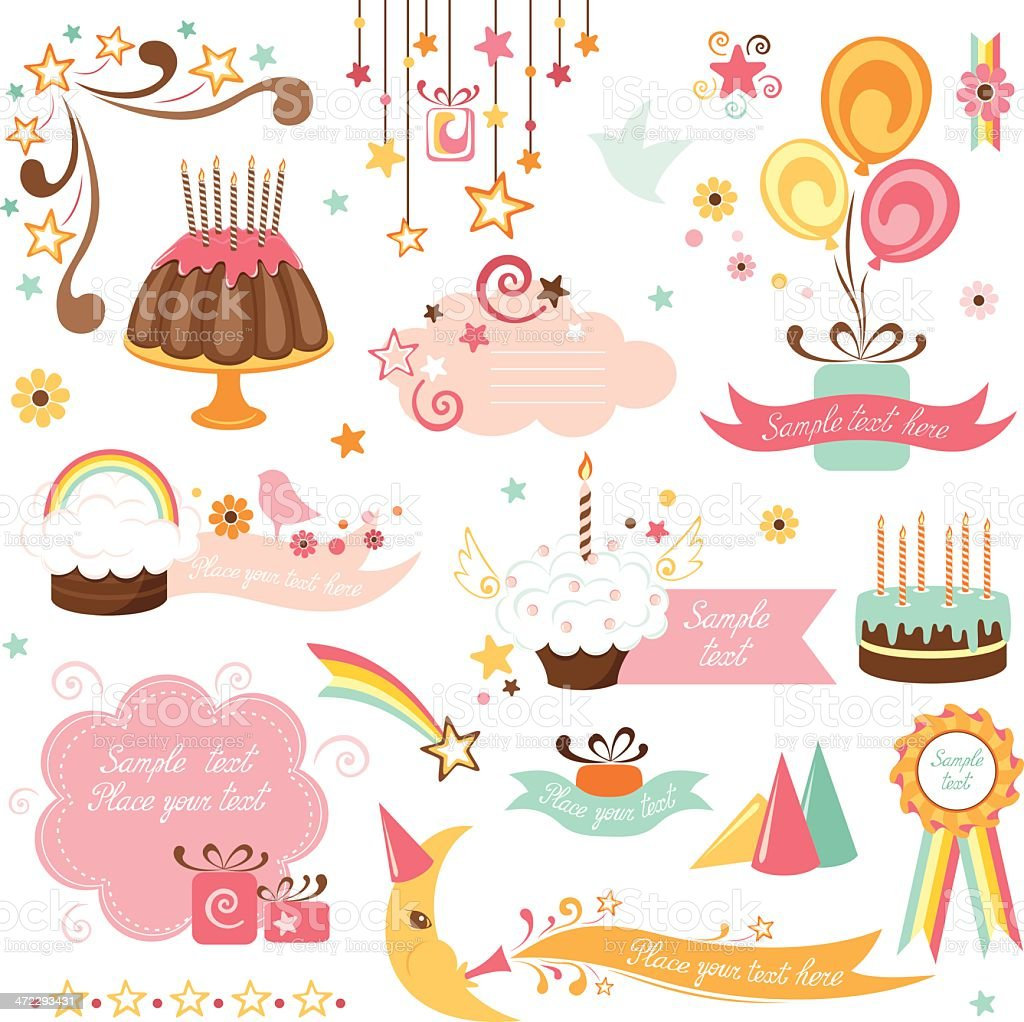Collection of pinkish party-themed design icons royalty-free collection of pinkish partythemed design icons stock vector art & more images of award ribbon