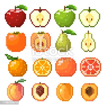 Collection of pixel fruits including apple, pear, peach, orange, grapefruit, apricot isolated on white background. Healthy food. Fresh and tasty fruits. Old style 8 bit icons.
