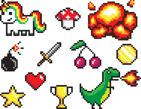 Collection of Pixel Objects Vector Illustration