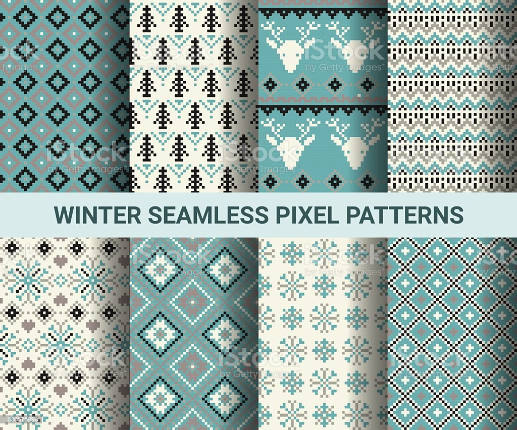 Collection of pixel retro seamless patterns with stylized winter vector art illustration