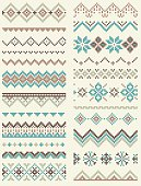 Collection of pixel retro brush templates with stylized winter Nordic ornament. Vector illustration.Collection of pixel retro brush templates with stylized winter Nordic ornament. Vector illustration.