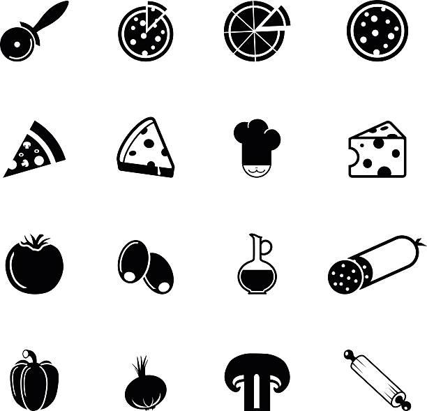sammlung von pizza symbole und zutaten - scheibe portion stock-grafiken, -clipart, -cartoons und -symbole
