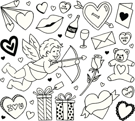 Collection of plain black line Valentine themed icons