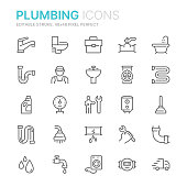 Collection of plumbing related line icons. 48x48 Pixel Perfect. Editable stroke