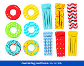 Top view vector collection of pool rafts and rubber rings on white background.