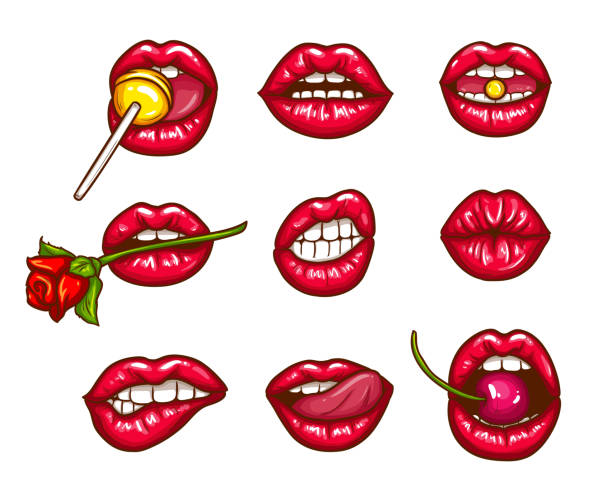 a collection of pop art icons of red female lips - ajar, bitten, kissing, with tongue, cherry and sugar candy. - symbol seksu stock illustrations