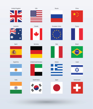 A collection of popular flags of the world