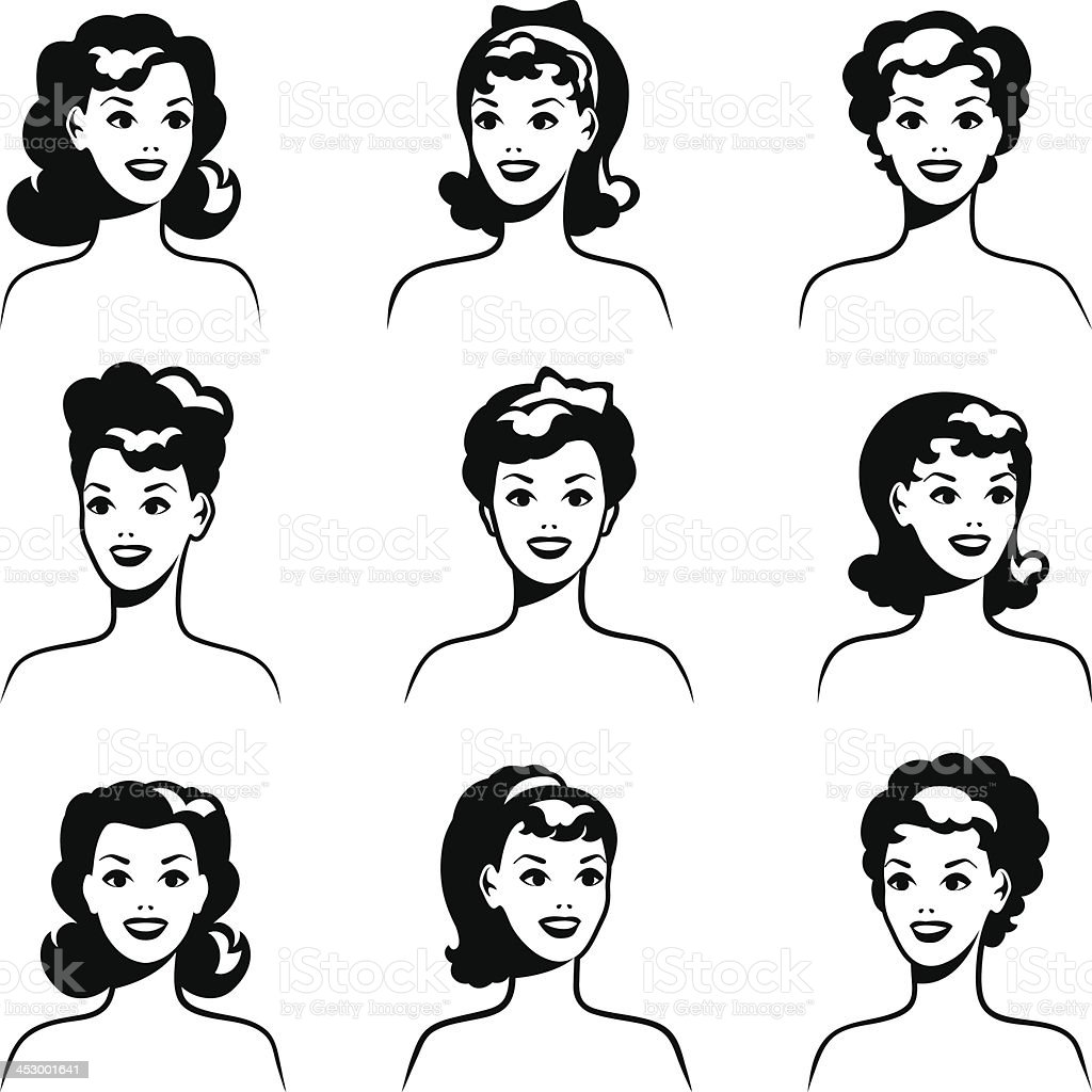 Collection of portraits beautiful pin up girls 1950s style. vector art illustration