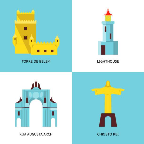 kolekcja ikon portugalii w płaskim stylu - lizbona stock illustrations