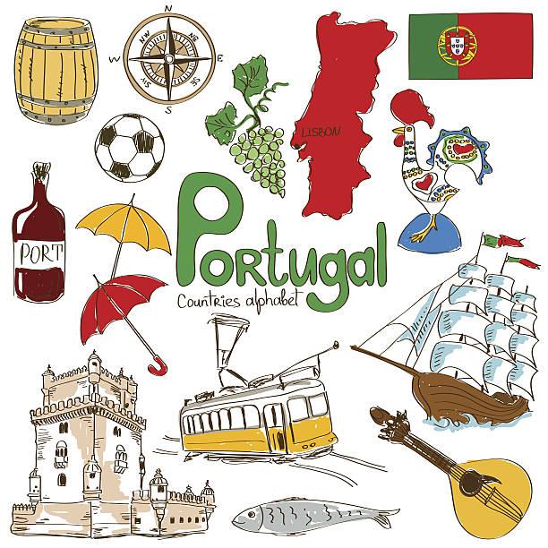 kolekcja ikony portugalia - lizbona stock illustrations