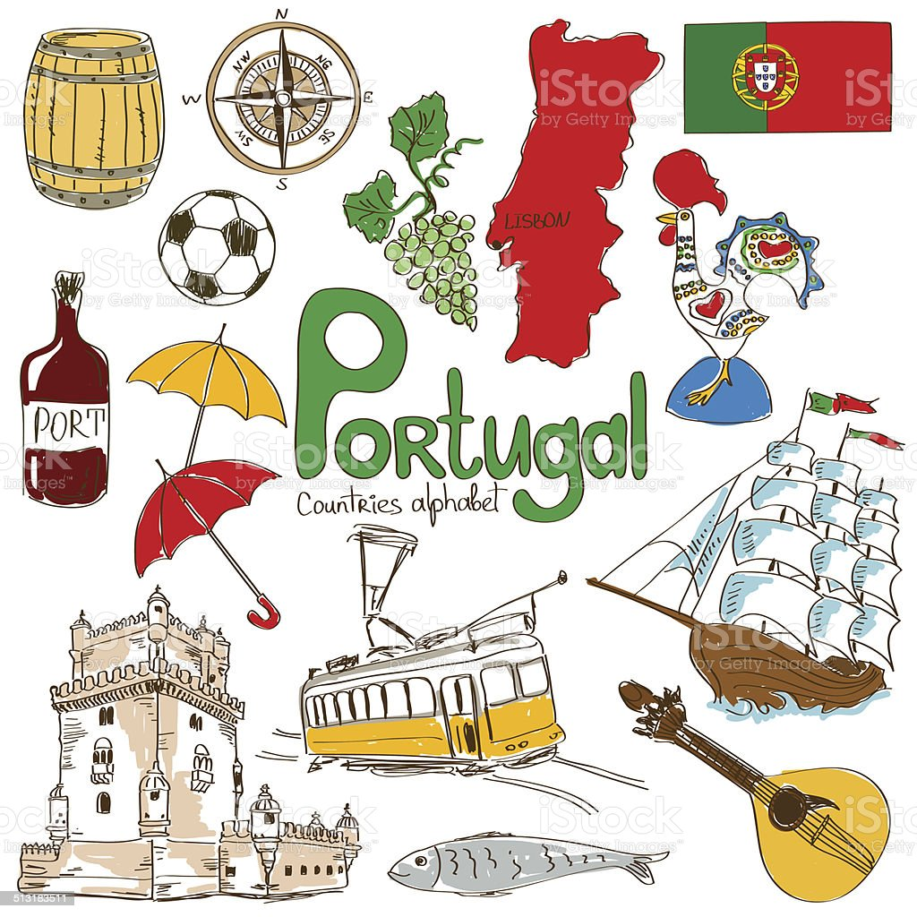 Collection of Portugal icons vector art illustration