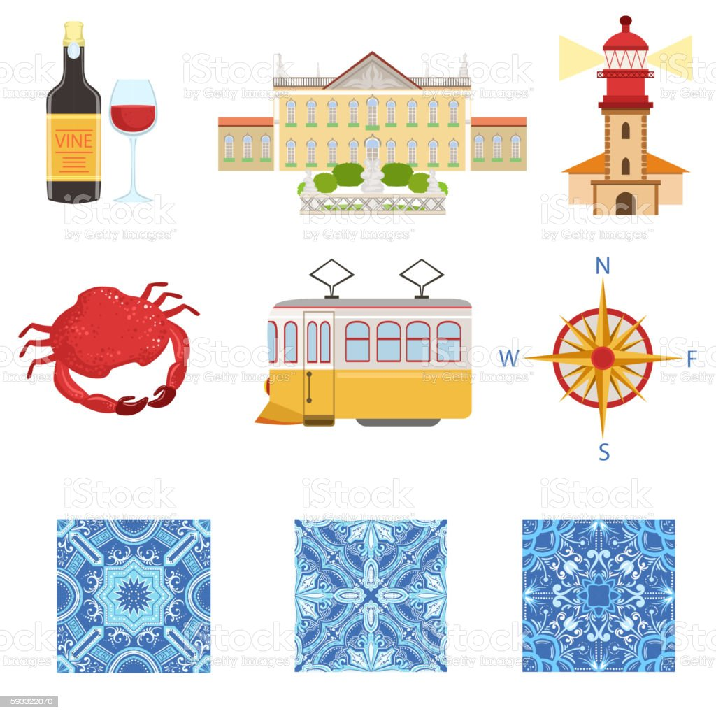 Collection Of Portuguese National Symbols Objects - Illustration vectorielle