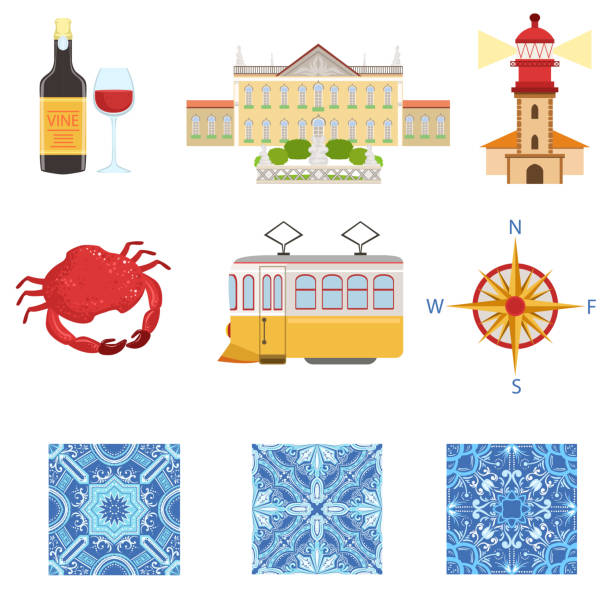 ilustrações de stock, clip art, desenhos animados e ícones de collection of portuguese national symbols objects - algarve