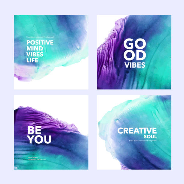 illustrazioni stock, clip art, cartoni animati e icone di tendenza di collection of post template with abstract watercolor shapes. set of colorful green and violet vecto ink illustrated squares with text. - viola colore