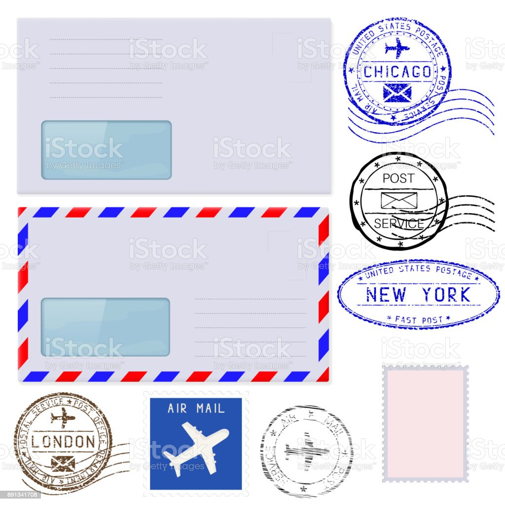Collection of postal elements and envelopes vector art illustration