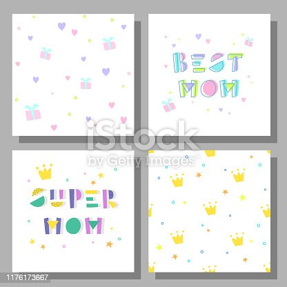 Collection of postcards and backgrounds for the mother's day. Fonts have a geometric cartoon style of writing. Cute prints correspond to postcard. Best Mom, Super Mom.