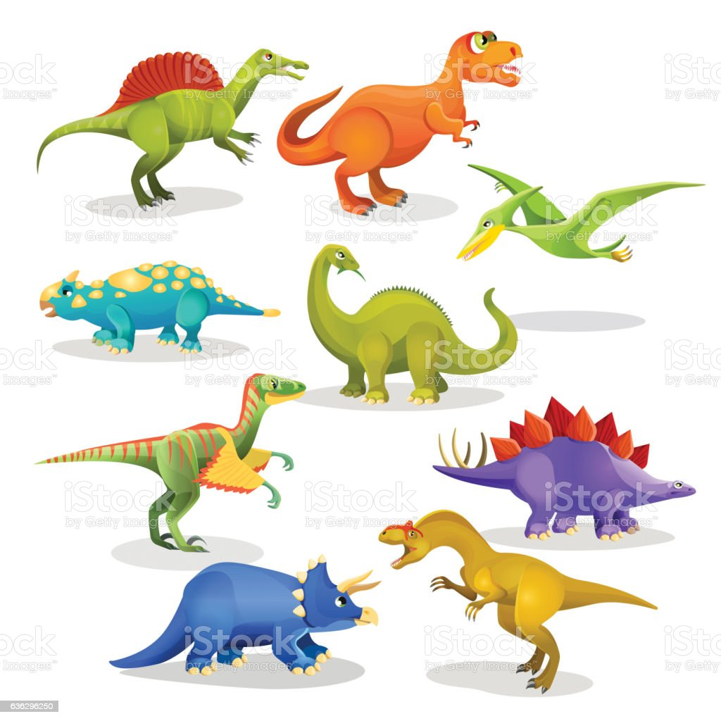 Collection of prehistoric dinosaur habitants. Vector vector art illustration