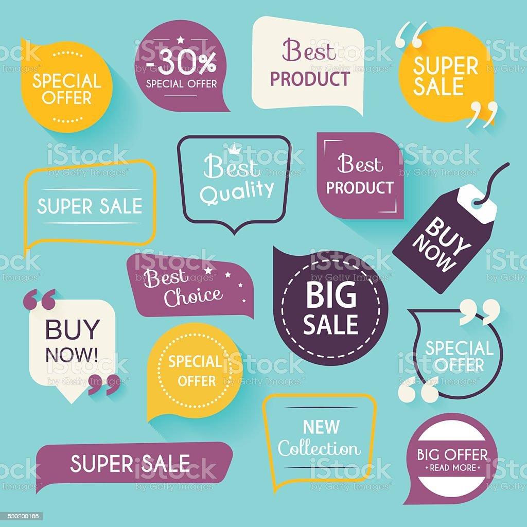 Sammlung von premium-Promotion Siegel und Banner. Isolierte Vektor-illu – Vektorgrafik