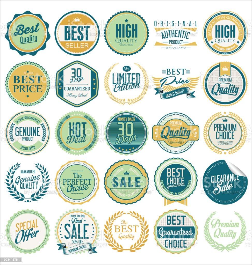 Kolekcja etykiet premium z retro stylem vintage - Grafika wektorowa royalty-free (Baner)