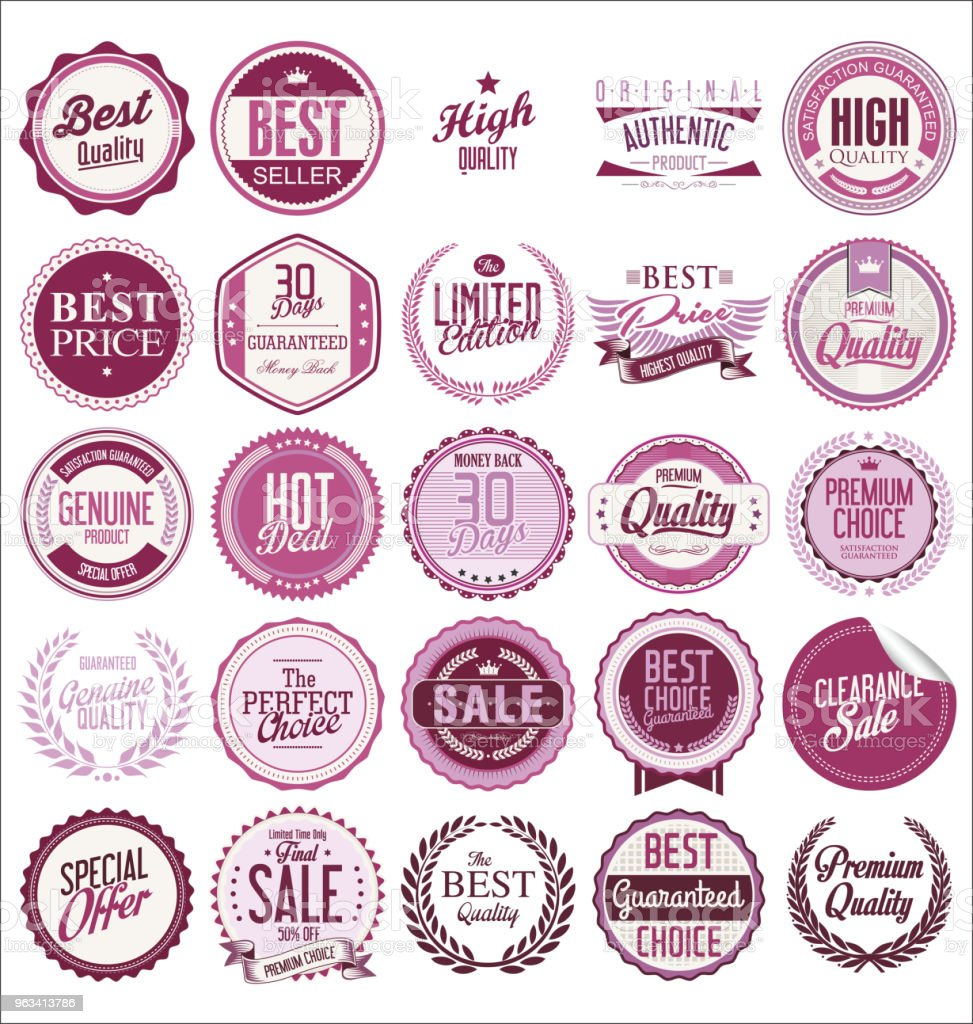 Collection of Premium Quality Labels with retro vintage design - Grafika wektorowa royalty-free (Baner)