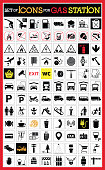 Collection of premium quality pictograms for gas station.