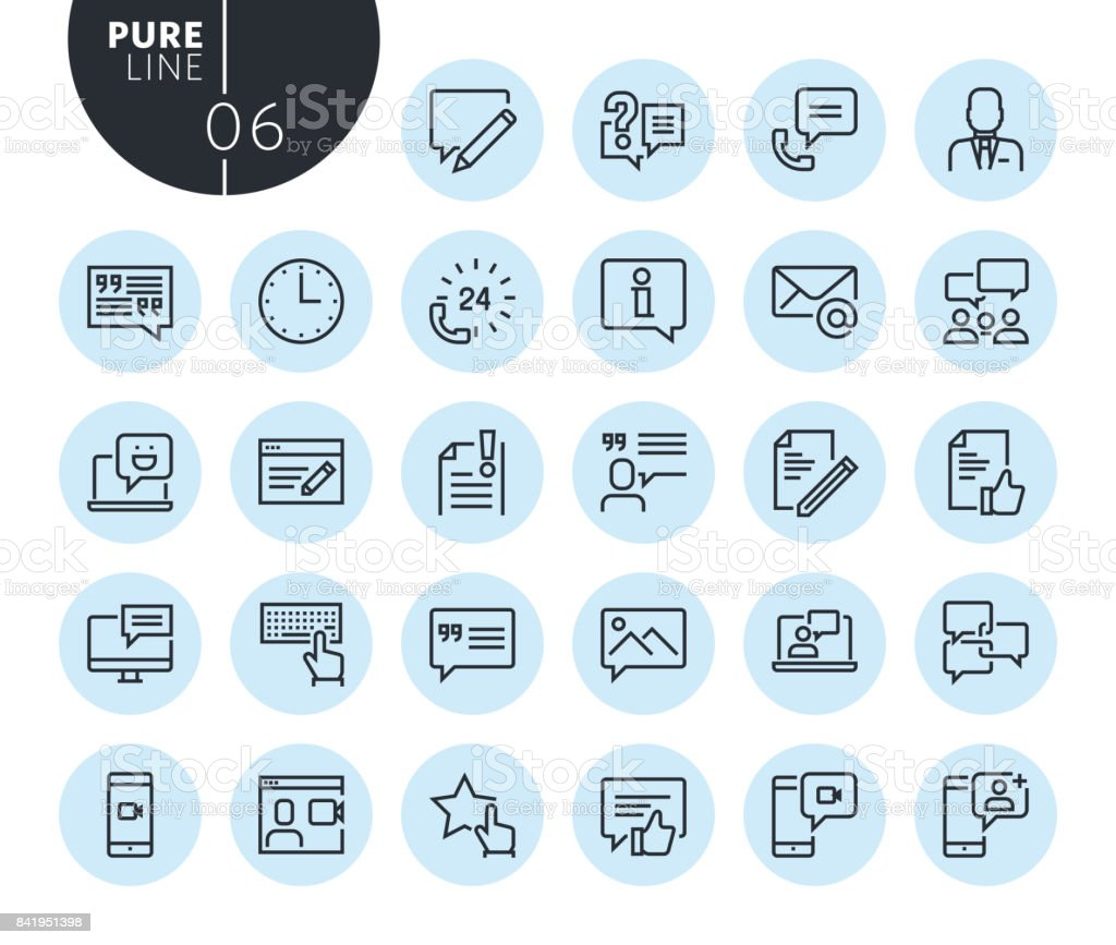 Collection of premium quality social media and networking line icons vector art illustration