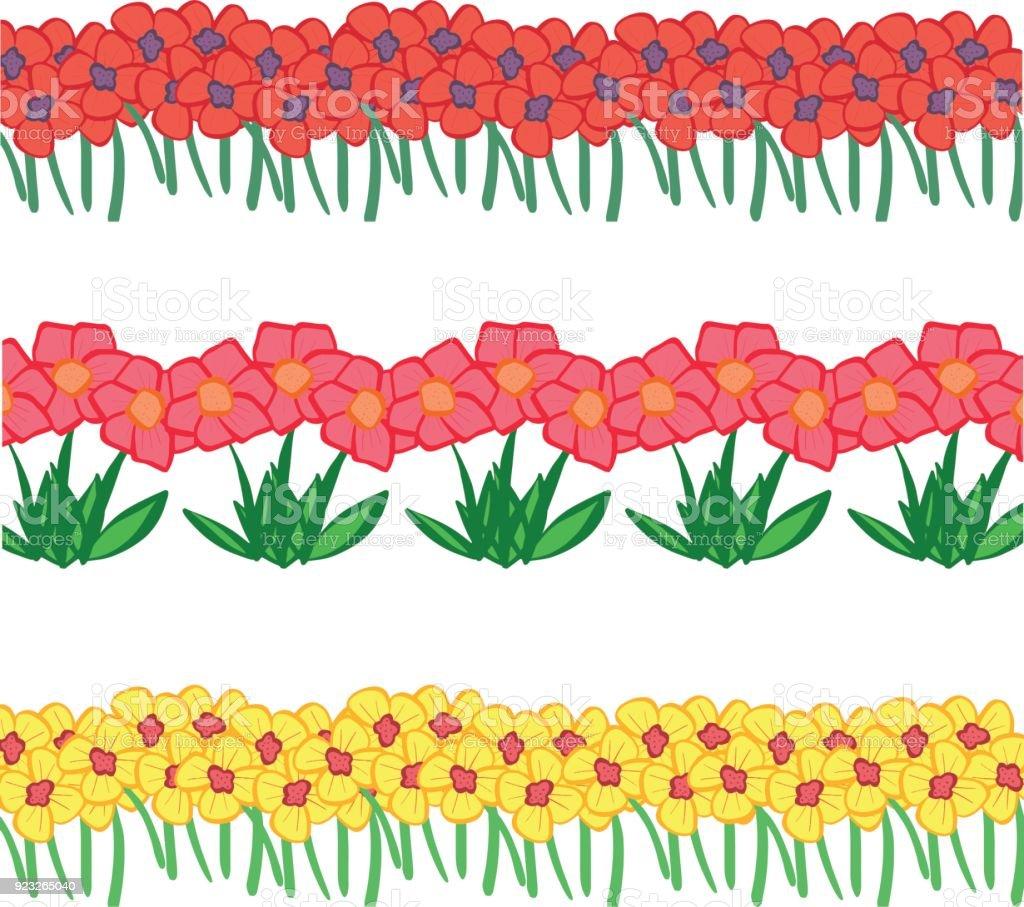 Ilustración De Colección De Bonitos Dibujos Animados De Flores De