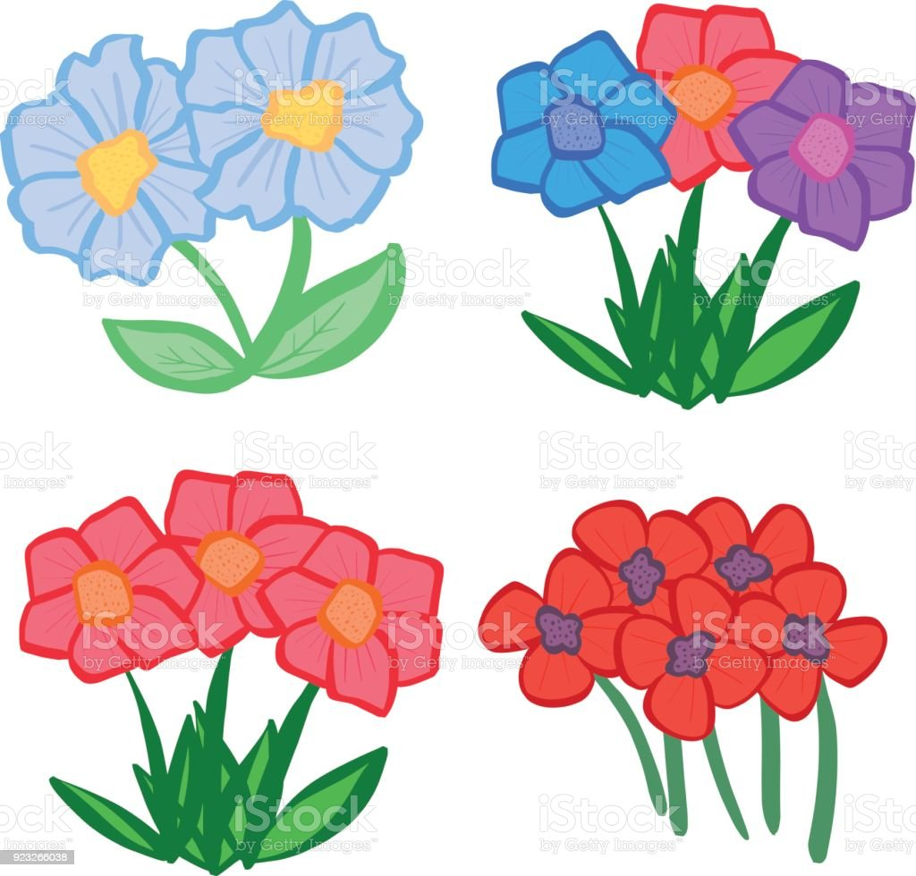 Collection Of Pretty Cartoon Spring And Summer Flowers Stock Vector