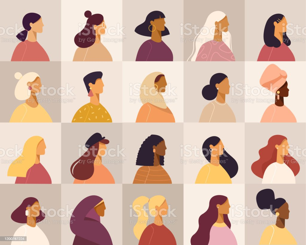 Collection Of Profile Portraits Or Heads Of Female Cartoon