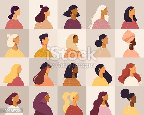 Various nationality. Blonde, brunette, redhead, african american, asian, muslim, european. Set of avatars. Vector, flat design