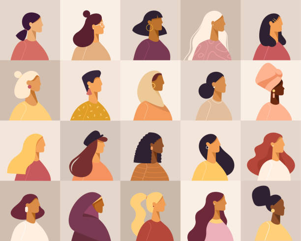 Collection of profile portraits or heads of female cartoon characters. Various nationality. Blonde, brunette, redhead, african american, asian, muslim, european. Set of avatars. Vector, flat design side view stock illustrations
