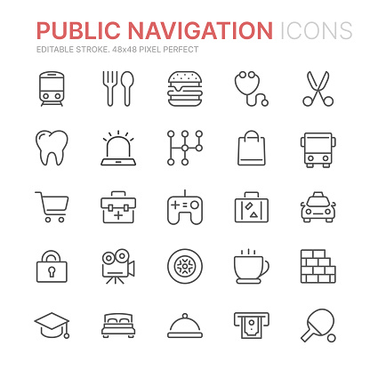 Collection of public navigation related line icons. 48x48 Pixel Perfect. Editable stroke