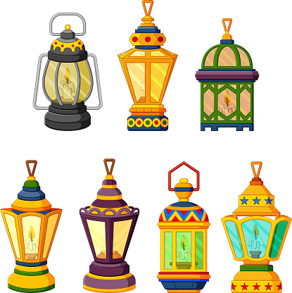 collection of Ramadan candle Lantern in low light mode