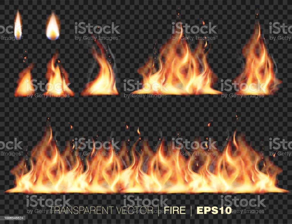 Collection des flammes de feu réaliste - clipart vectoriel de Bordure libre de droits