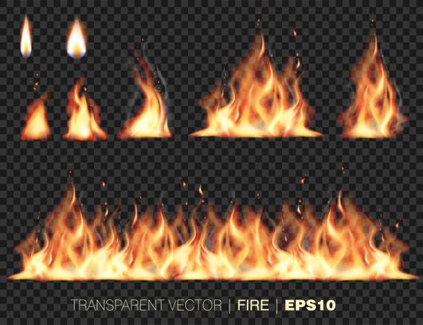 illustrazioni stock, clip art, cartoni animati e icone di tendenza di collection of realistic fire flames - calore concetto