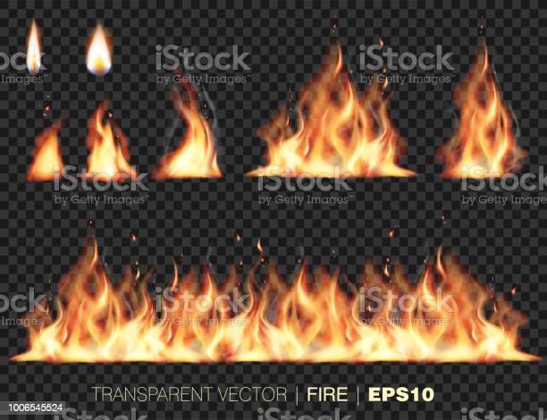 Collection Des Flammes De Feu Réaliste Vecteurs libres de droits et plus d'images vectorielles de Bordure