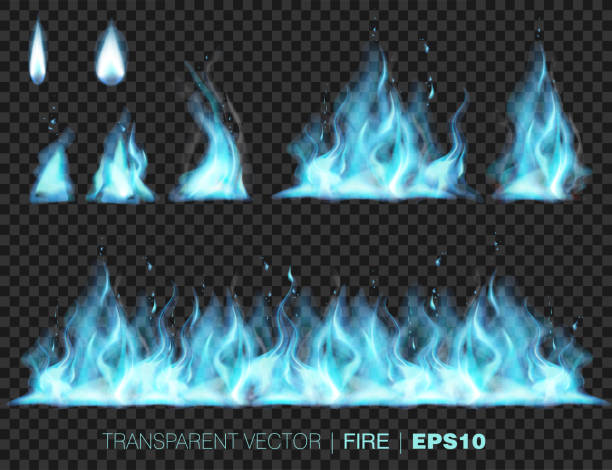 Collection of realistic fire flames vector art illustration