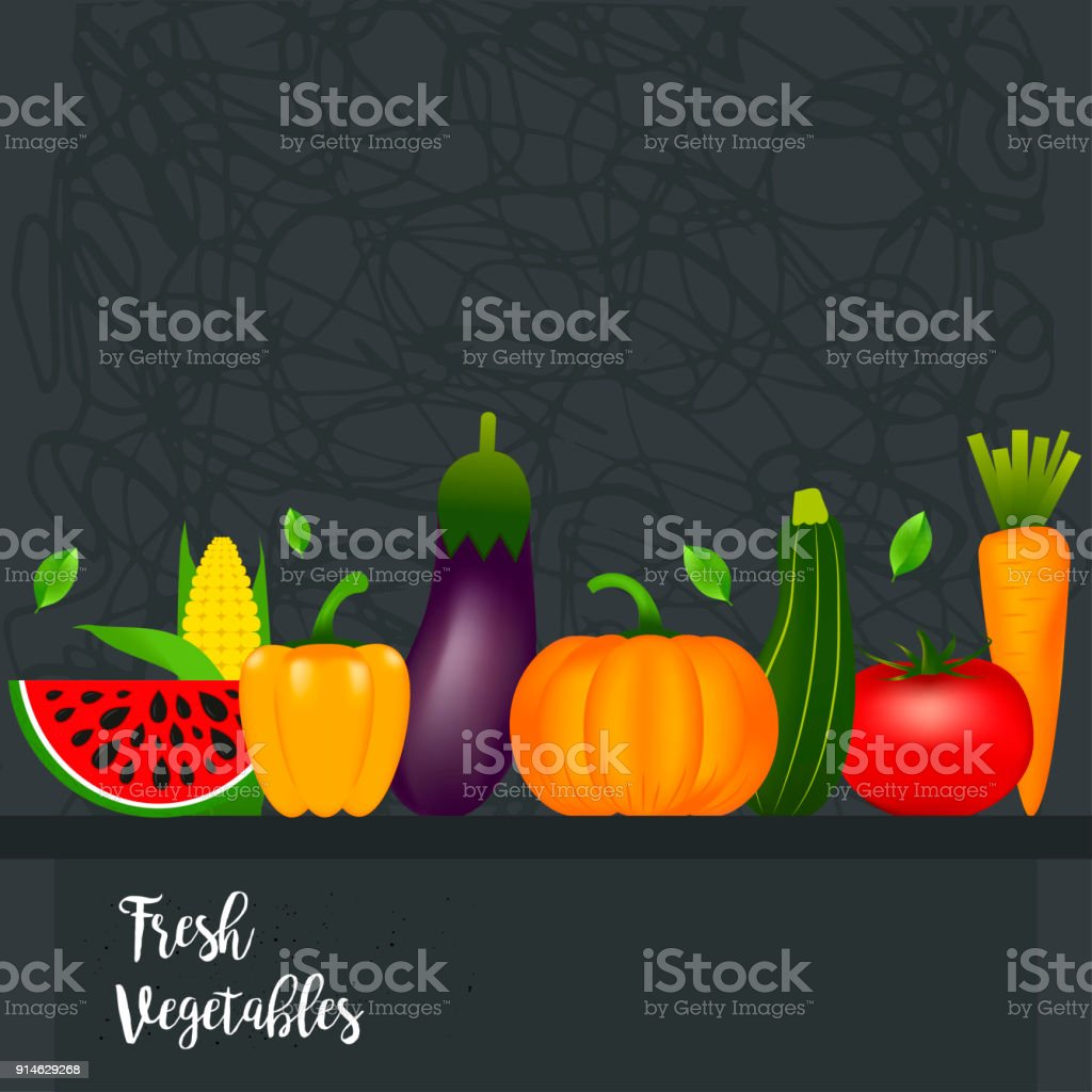 Collection of realistic healthy vegetables  such as: carrot, tom vector art illustration