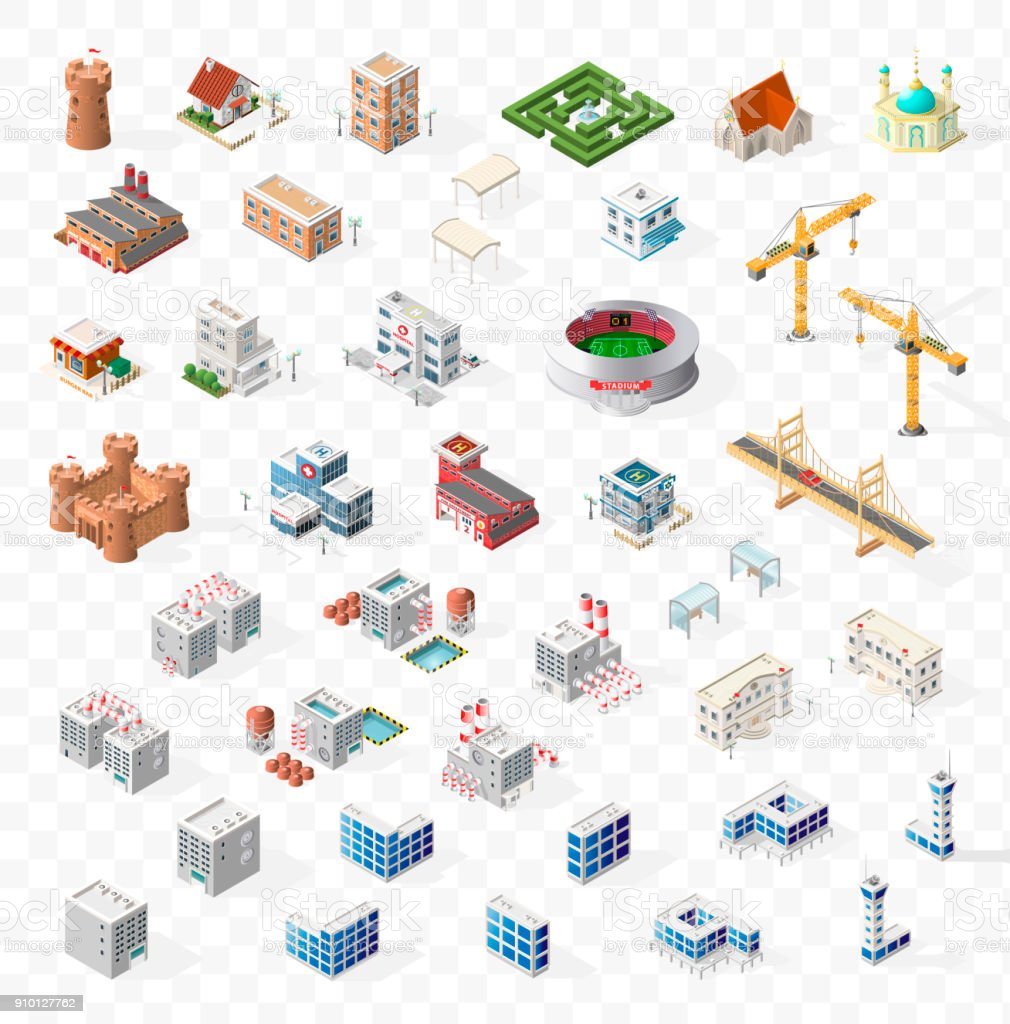 Collection of Realistic Isometric High Quality City Element for Map on Transparent Background . Buildings vector art illustration