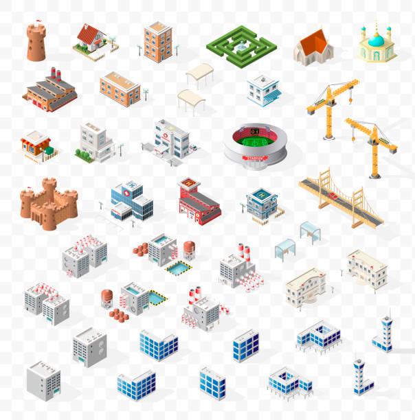 sammlung von realistischen isometrische high quality city element für karte auf transparentem hintergrund. gebäude - turm bauwerk stock-grafiken, -clipart, -cartoons und -symbole