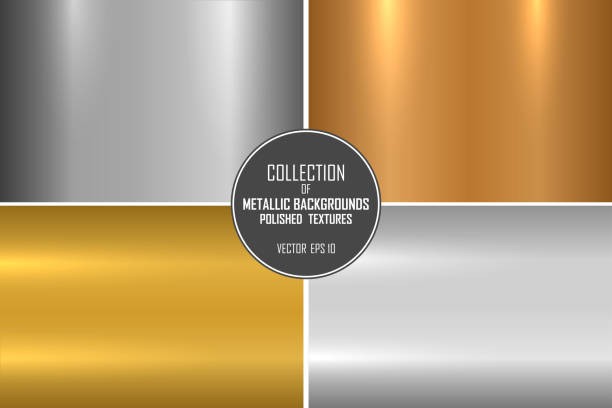 Collection of realistic metallic textures. Shiny polished metal backgrounds for your design vector art illustration