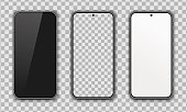 Collection of realistic smartphone. Blank, white, transparent screen. High Detailed Vector mockups. Mobile phones isolated on white background. Separate Groups and Layers. Easily Editable EPS 10.