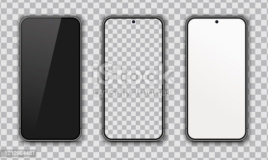 istock Collection of realistic smartphone. Blank, white, transparent screen. High Detailed Vector mockups. Mobile phones isolated on white background. Separate Groups and Layers. Easily Editable EPS 10. 1212964451