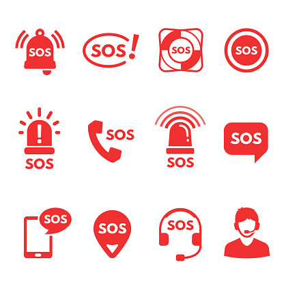 Collection of red flat SOS icons or symbols