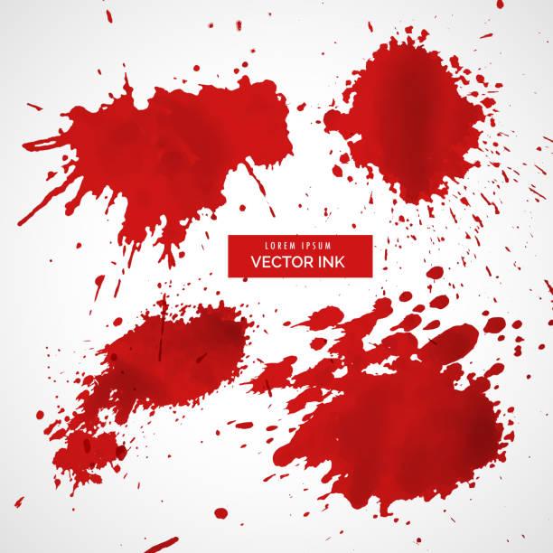 ilustraciones, imágenes clip art, dibujos animados e iconos de stock de colección de tinta roja salpicaduras vectoriales - sangre